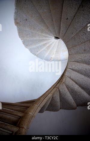 elliptical marble spiral staircase of saint lawrence charterhouse certosa di san lorenzo in padula province of salerno italy - Stock Photo
