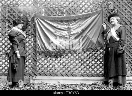 Woman Suffrage Movement - Woman Suffragettes picketers holding banner ca. 1917 - Stock Photo