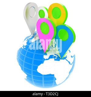 Planet Earth and map pins icon. Earth globe and colorful map labels. Modern graphic elements for web banners, websites, printed materials, infographic - Stock Photo