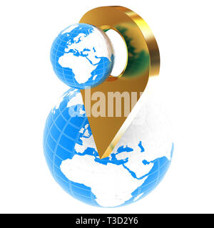 Planet Earth and golden map pins icon on Earth. 3d illustration. - Stock Photo
