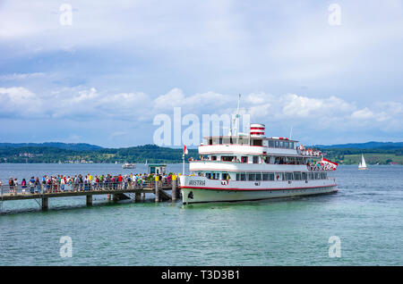 The excursion boat MS AUSTRIA has docked at the landing stage of the Flower Island Mainau in Lake Constance, Baden-Wurttemberg, Germany, Europe. - Stock Photo