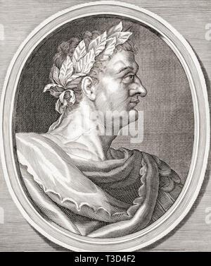 Domitian, 51 AD - 96 AD.  Roman emperor. - Stock Photo