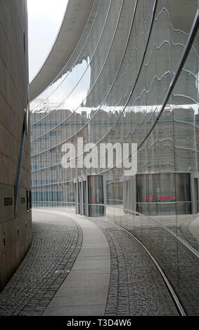 Glas facade of New Museum, museum of art and design, Klarissen place, old town of Nuremberg, Franconia, Bavaria, Germany - Stock Photo