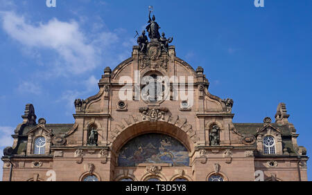 Facade of Opera house, state theatre, art nouveau, Nuremberg, Franconia, Bavaria, Germany - Stock Photo