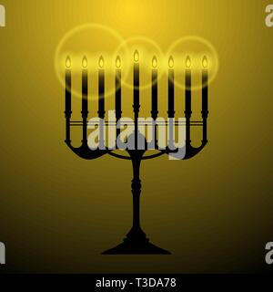 The black Menorah is isolated on an orange background it has nine candles the Menorah is shining. The concept is Religion icon. - Stock Photo