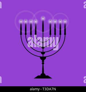 Black Menorah with nine glowing candles is isolated on the purple background a illustration for Hanukkah. The concept is Religion icon. - Stock Photo