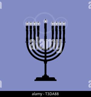 Black Menorah with nine shining candles is isolated on the blue background. Vector illustration for Hanukkah. The concept is Religion icon. - Stock Photo