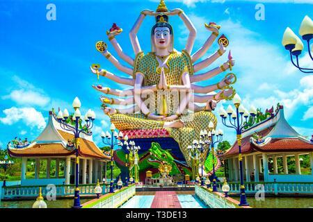 Kuan Yin Statue, Wat Plai Laem, Koh Samui, Thailand - Stock Photo