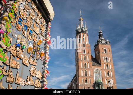 Krakow, Poland - March 22, 2019 - Souvenirs for sale on the main market square - Stock Photo