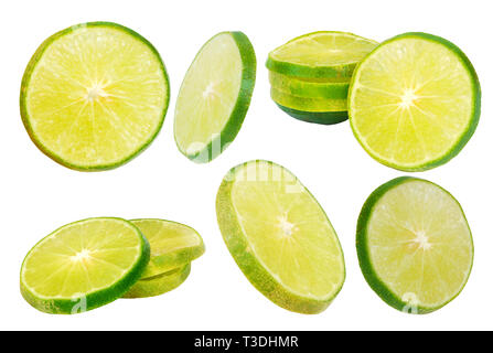 Thai lemon on a white background.Help to cure vomiting Wind, dizziness, drunkenness.With Clipping Path. - Stock Photo