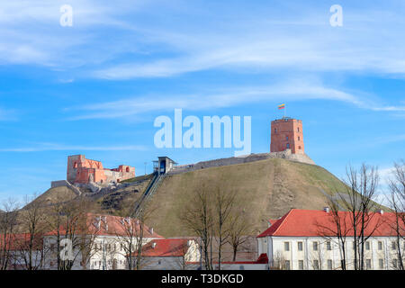 View to Vilnius city with Gediminas Tower and Gediminas Castle Hill in Lithuania - Stock Photo