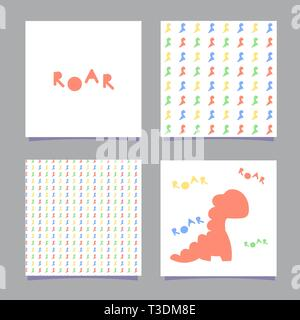 Cards with dinosaur and the word roar in the Scandinavian style. Isolated on white background. One seamless pattern with color dinosaurs. Vector - Stock Photo