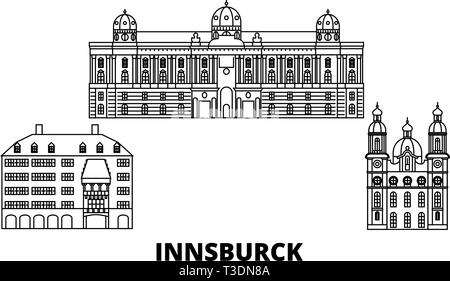 Austria, Innsburck line travel skyline set. Austria, Innsburck outline city vector illustration, symbol, travel sights, landmarks. - Stock Photo