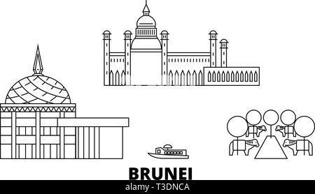 Brunei line travel skyline set. Brunei outline city vector illustration, symbol, travel sights, landmarks. - Stock Photo