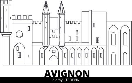 France, Avignon Landmark line travel skyline set. France, Avignon Landmark outline city vector illustration, symbol, travel sights, landmarks. - Stock Photo