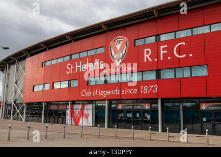 Exterior of main entrance for St Helens Rugby Football Club stadium St Helens Lancashire March 2019 - Stock Photo