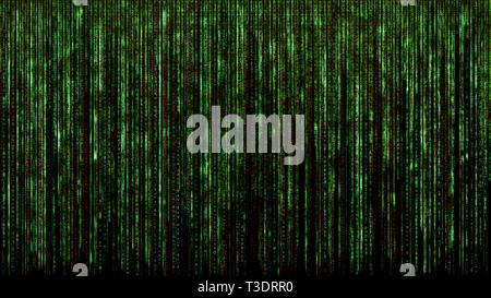 red green binary matrix code abstract computer hacker digital network concept black background - Stock Photo
