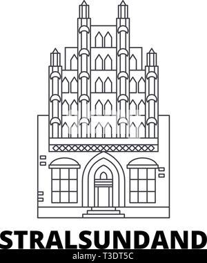 Germany, Stralsundand line travel skyline set. Germany, Stralsundand outline city vector illustration, symbol, travel sights, landmarks. - Stock Photo