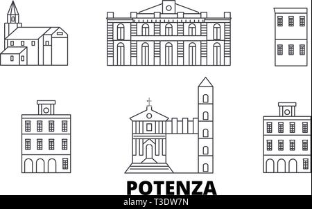 Italy, Potenza line travel skyline set. Italy, Potenza outline city vector illustration, symbol, travel sights, landmarks. - Stock Photo