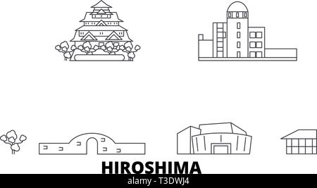 Japan, Hiroshima line travel skyline set. Japan, Hiroshima outline city vector illustration, symbol, travel sights, landmarks. - Stock Photo