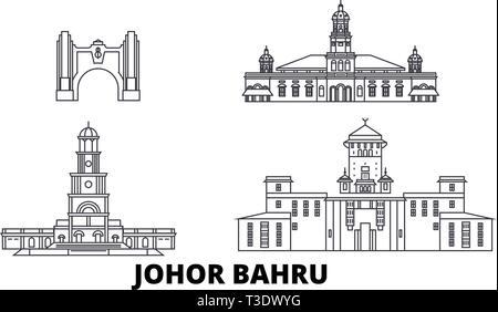 Malaysia, Johor Bahru line travel skyline set. Malaysia, Johor Bahru outline city vector illustration, symbol, travel sights, landmarks. - Stock Photo