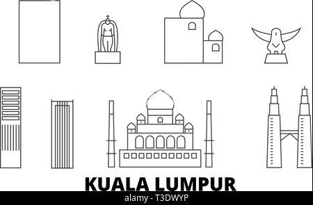 Malaysia, Kuala Lumpur line travel skyline set. Malaysia, Kuala Lumpur outline city vector illustration, symbol, travel sights, landmarks. - Stock Photo