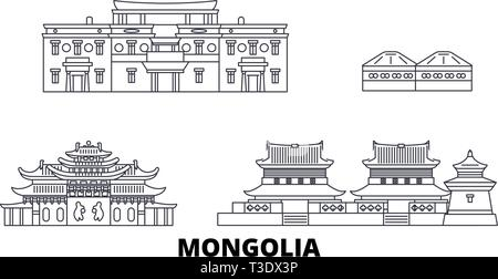 Mongolia line travel skyline set. Mongolia outline city vector illustration, symbol, travel sights, landmarks. - Stock Photo