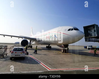 PARIS, FRANCE - OCTOBER 18, 2018: MEA airplane in Charles de Gaulle airport. Middle East Airlines - Air Liban S.A.L., known as Middle East Airlines, i - Stock Photo