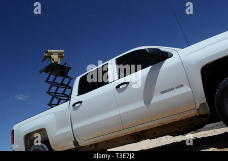 A Mobile Surveillance Camera parked at 'Monument One' near the Santa Teresa Port of Entry in Sunland Park, N.M., April 3, 2019. The Monument One MSC is one of 22 along the New Mexico/Mexico border operated by Soldiers assigned to 1-37 Field Artillery Battalion. The Department of Defense has deployed units across the Southwest Border at the request of U.S. Customs and Border Protection and is providing logistical, engineering, and force protection functions. (US Army photo by Sgt. 1st Class TaWanna Starks) - Stock Photo
