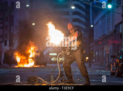 FAST AND FURIOUS 7 2015 Universal Pictures film with Dwayne Johnson - Stock Photo