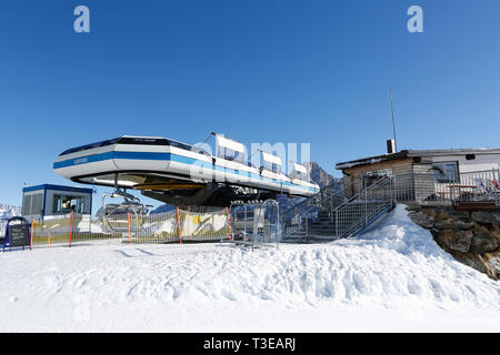 Final destination Punta Ces, ski resort, San Martino di Castrozza, Trentino, Italy, Europe - Stock Photo