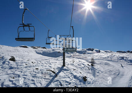 View from the chair lift, ski resort, San Martino di Castrozza, Trentino, Italy, Europe - Stock Photo