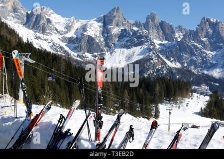 Malga Ces, ski resort, San Martino di Castrozza, Trentino, Italy, Europe - Stock Photo