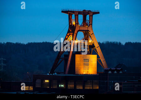 Doppelbock Scaffold from Schacht XII, World Heritage Zeche Zollverein, former colliery, Essen, Germany, - Stock Photo