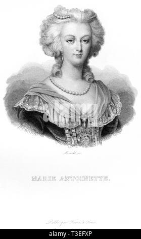 Europa, Frankreich, Marie Antoinette, Königin von Frankreich, Kupferstich von Marckl ( geb. 1807 in Paris ) , wahrscheinlich 1830er - 1840er Jahre ? , - Stock Photo