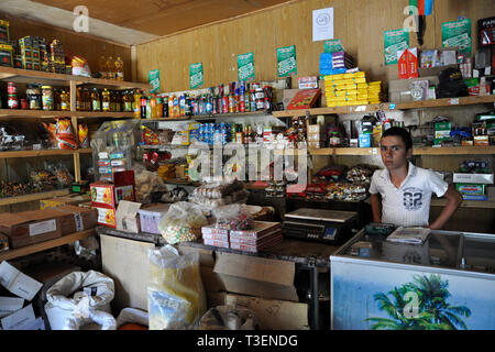 Azerbaijan, Khimalig village, shop - Stock Photo