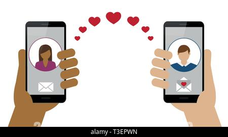 online dating between woman and man via smartphone vector illustration EPS10
