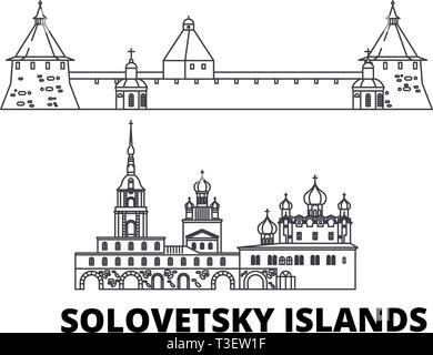 Russia, Solovetsky Islands line travel skyline set. Russia, Solovetsky Islands outline city vector illustration, symbol, travel sights, landmarks. - Stock Photo