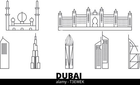 United Arab Emirates, Dubai City line travel skyline set. United Arab Emirates, Dubai City outline city vector illustration, symbol, travel sights - Stock Photo