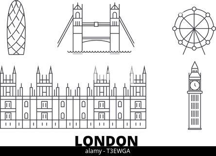 United Kingdom, London City line travel skyline set. United Kingdom, London City outline city vector illustration, symbol, travel sights, landmarks. - Stock Photo