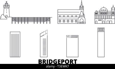 United States, Bridgeport line travel skyline set. United States, Bridgeport outline city vector illustration, symbol, travel sights, landmarks. - Stock Photo