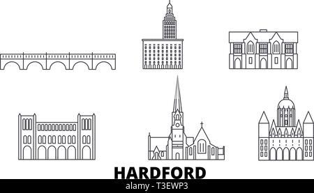 United States, Hartford line travel skyline set. United States, Hartford outline city vector illustration, symbol, travel sights, landmarks. - Stock Photo