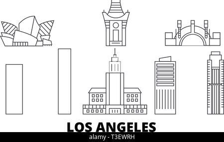 United States, Los Angeles City line travel skyline set. United States, Los Angeles City outline city vector illustration, symbol, travel sights - Stock Photo