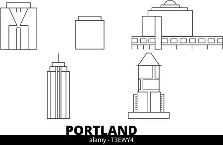 United States, Portland City line travel skyline set. United States, Portland City outline city vector illustration, symbol, travel sights, landmarks. - Stock Photo