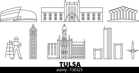 United States, Tulsa line travel skyline set. United States, Tulsa outline city vector illustration, symbol, travel sights, landmarks. - Stock Photo