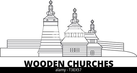 Poland, Wooden Churches In The Carpathian Mountain Area line travel skyline set. Poland, Wooden Churches In The Carpathian Mountain Area outline city - Stock Photo