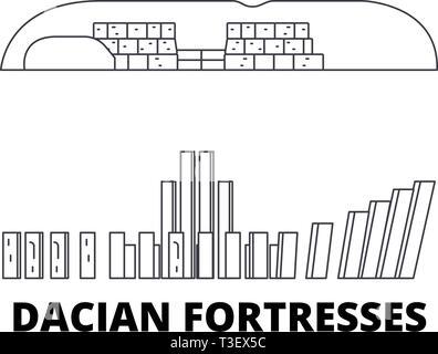Romania, Dacian Fortresses, Orastie Mountains line travel skyline set. Romania, Dacian Fortresses, Orastie Mountains outline city vector illustration - Stock Photo