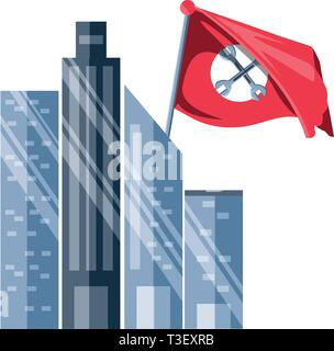cityscape and flag with wrenches tools crossed vector illustration design - Stock Photo