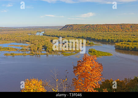 Spectacular View of the Confluence of the Wisconsin and Mississippi Rivers - Stock Photo
