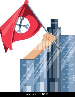 hand with flag of wrenches and cityscape vector illustration design - Stock Photo